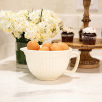 Ribbed Creamware Batter Bowl
