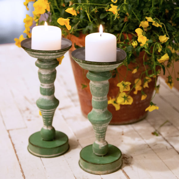 Vintage Green Candle Stand - 12""
