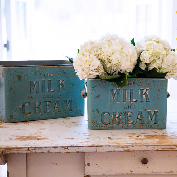 Milk & Cream Galvanized Storage Bins set of 2