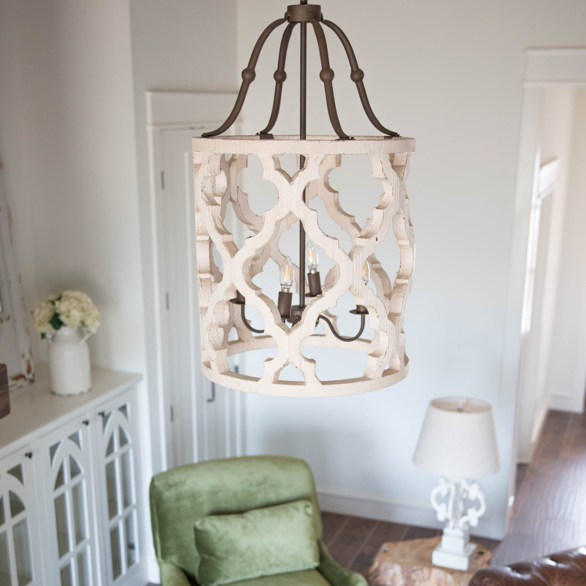 Lighting smallwood home distressed white wood chandelier mozeypictures Choice Image