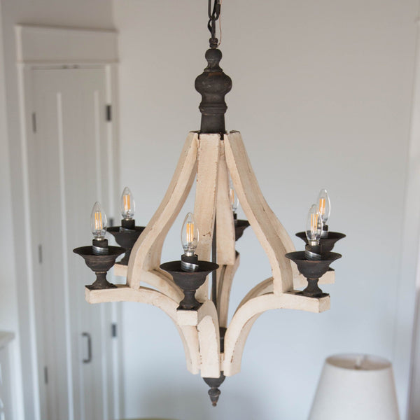 Antiqued Wood Chandelier