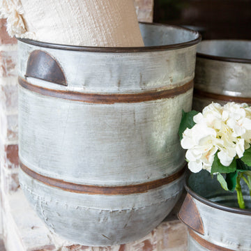Shelburne Galvanized Planter Pot