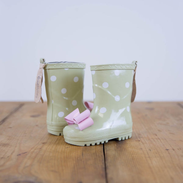 SweetHoney - Cheery Rain Boots - Pale Green Dot - FINAL SALE