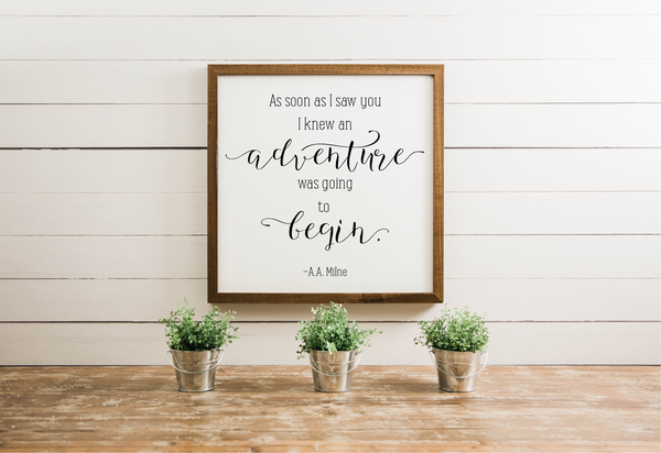 Wood Framed Signboard - Adventure - SQ