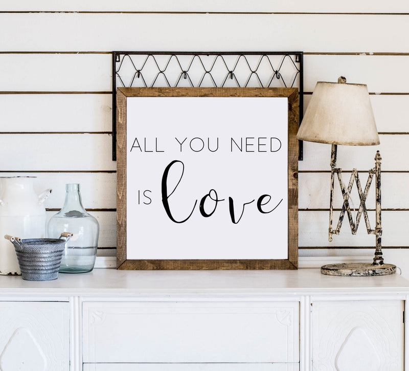 Wood Framed Signboard - All You Need Is Love - SQ