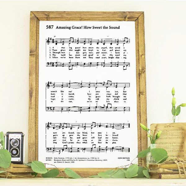 Wood Framed Signboard - Amazing Grace - M