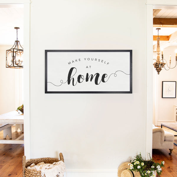Smallwoods Make Yourself at Home Wooden Sign XL Black