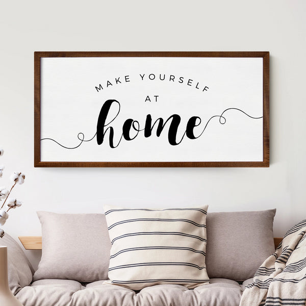 Smallwoods Make Yourself at Home Wood Wall Sign XL Stained Frame