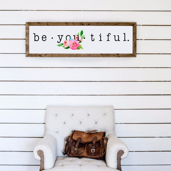 Wood Framed Signboard - Be-you-tiful - L - 45x14