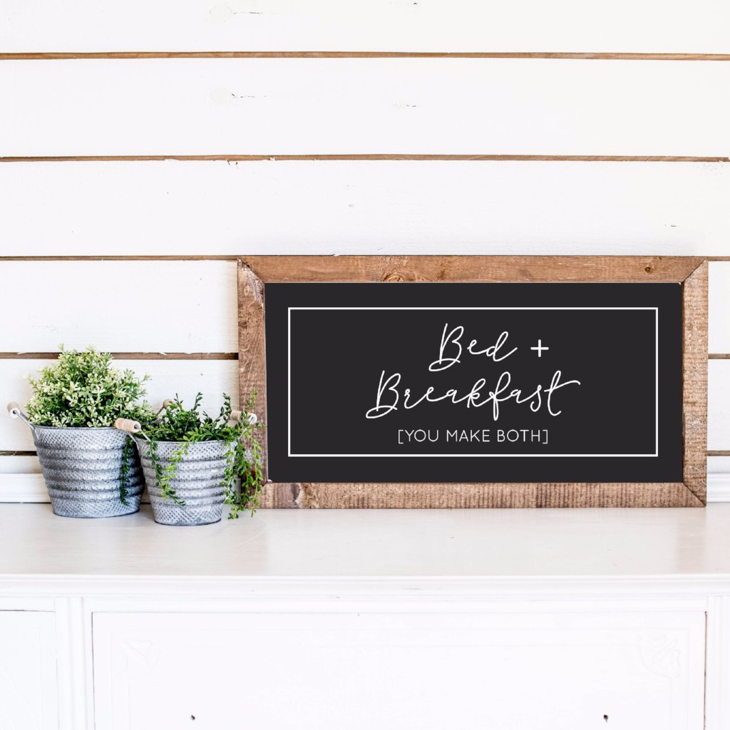 Wood Framed Signboard - Bed + Breakfast - SM