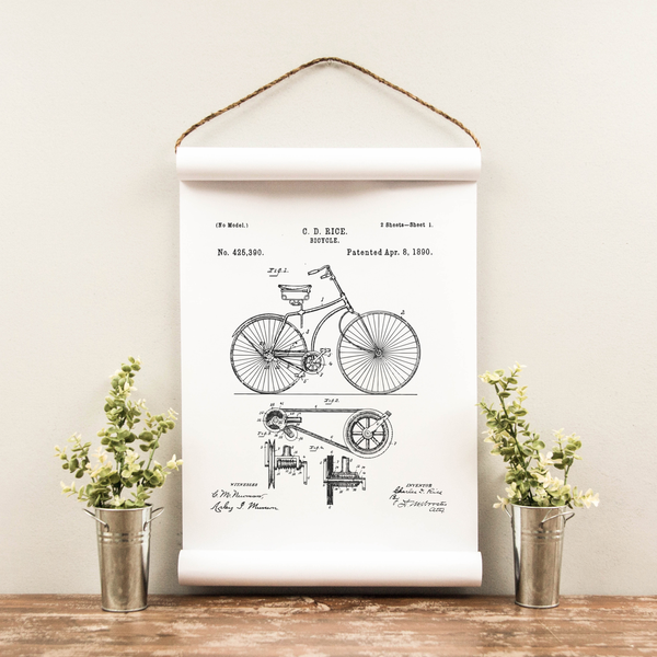 Wall Scroll - Bicycle Patent - Multiple Sizes