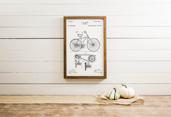 Wood Framed Signboard - Bicycle Patent - Medium