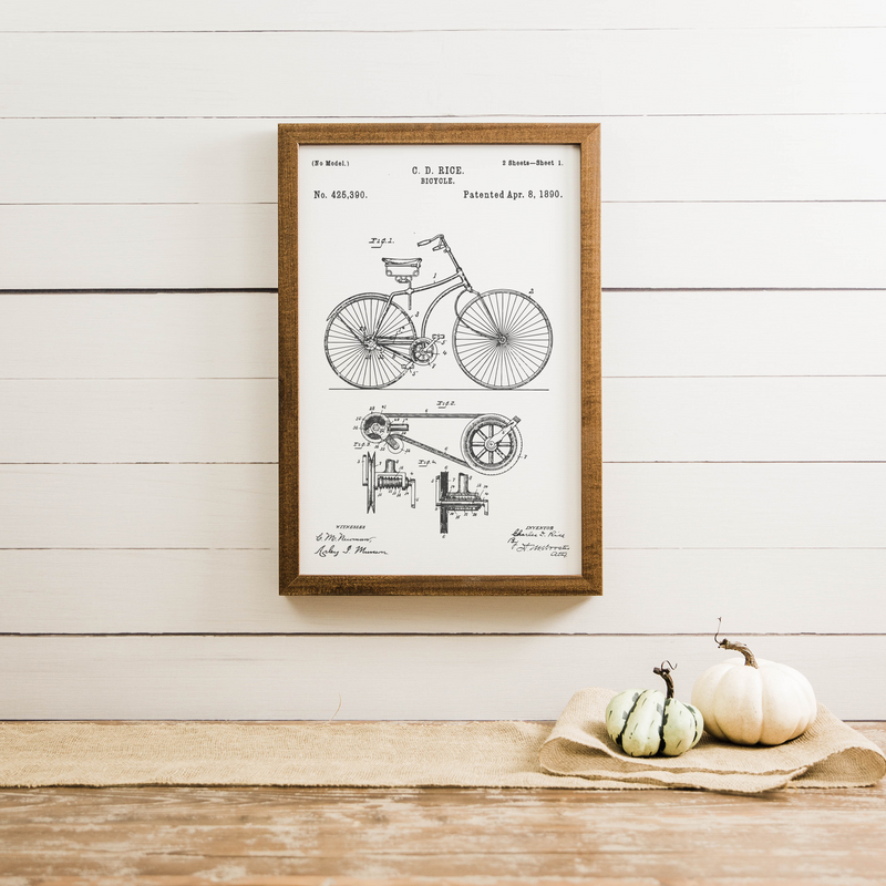 Wood Framed Signboard - Bicycle Patent - Medium [CLOSEOUT]