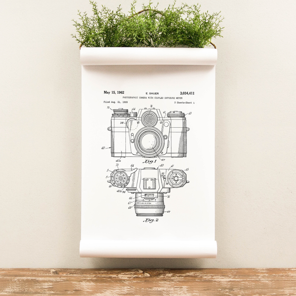 Wall Scroll - Camera Patent - Multiple Sizes