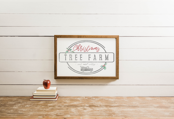 Wood Framed Signboard - Christmas Tree Farm - Multiple Sizes