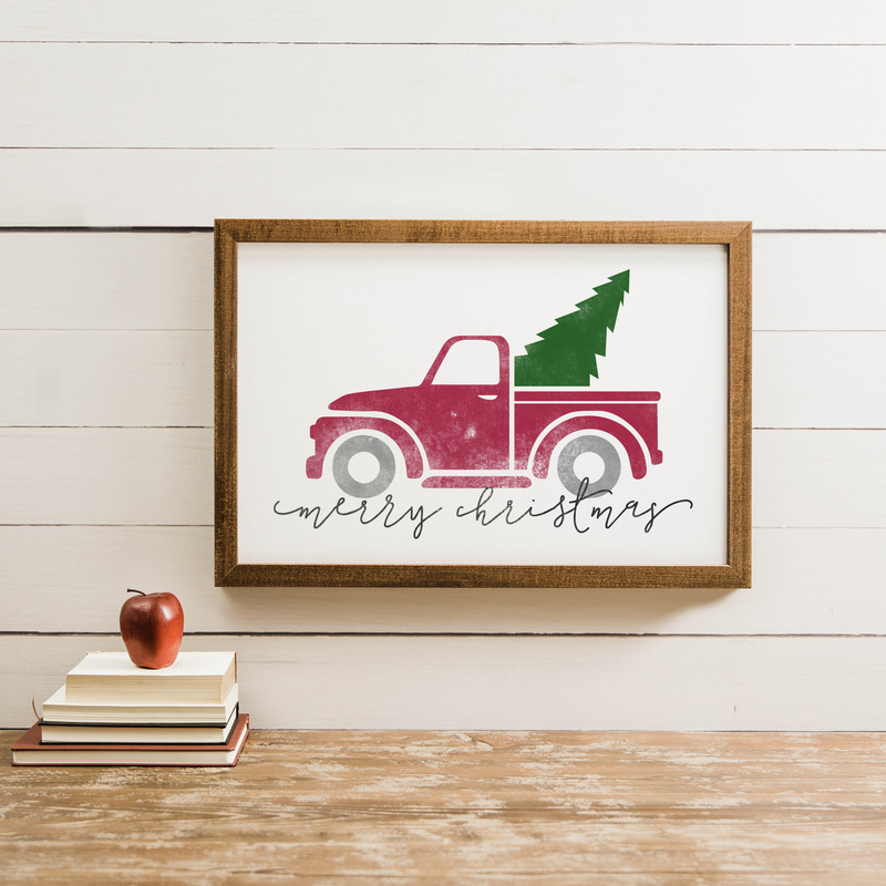 Wood Framed Signboard - Christmas Truck - M - 17X25