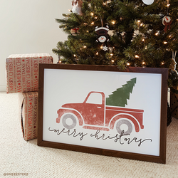 Wood Framed Signboard - Christmas Truck - M - 17X25 [HOLIDAY18]