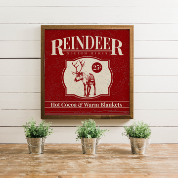 Wood Framed Signboard - Sleigh Rides - Multiple Sizes & Colors [HOLIDAY18]