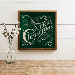 Wood Framed Signboard - Traditional Merry Christmas - SQ & Multiple Colors
