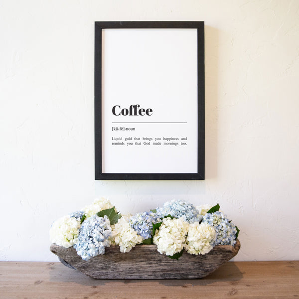 Smallwoods Framed Vertical Coffee Definition Word Art Sign