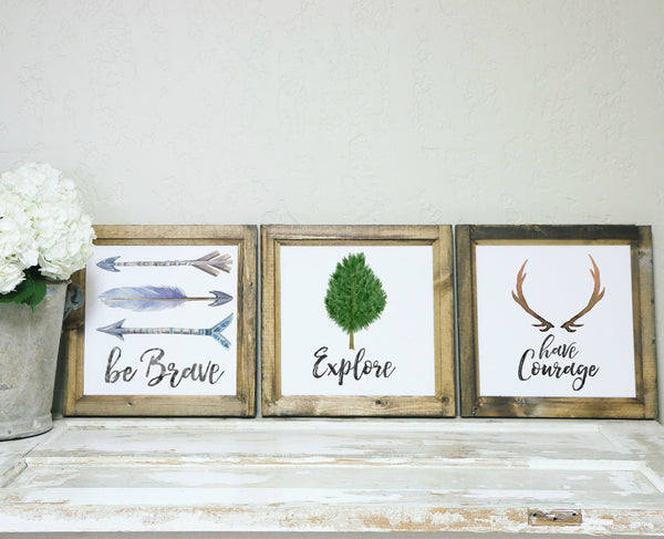 Smallwoods - WOOD FRAMED SIGNS - Wood Framed Signboard - Brave, Courage, Explore Trio | Water Color  - 1