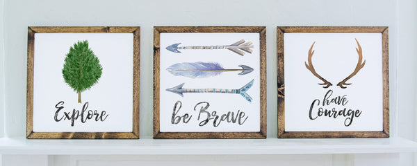 Smallwoods - WOOD FRAMED SIGNS - Wood Framed Signboard - Brave, Courage, Explore Trio | Water Color  - 3