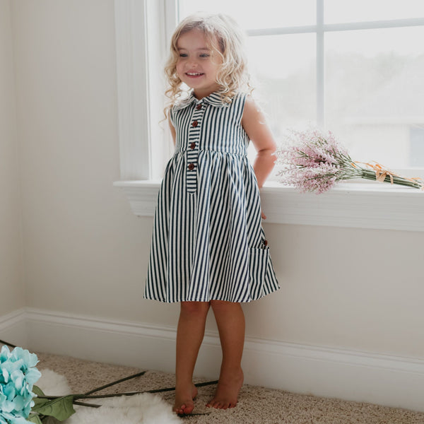 SweetHoney - Molly Dress - Navy Stripes