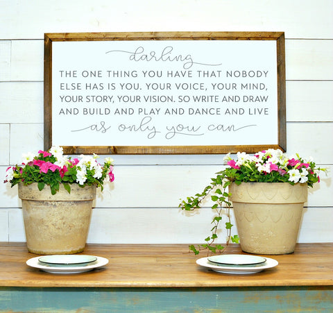 Wood Framed Signboard - Darling - XL