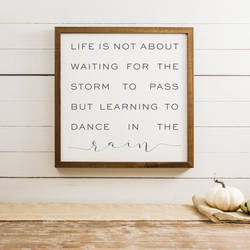 Wood Framed Signboard - Dance in the Rain - Multiple Sizes