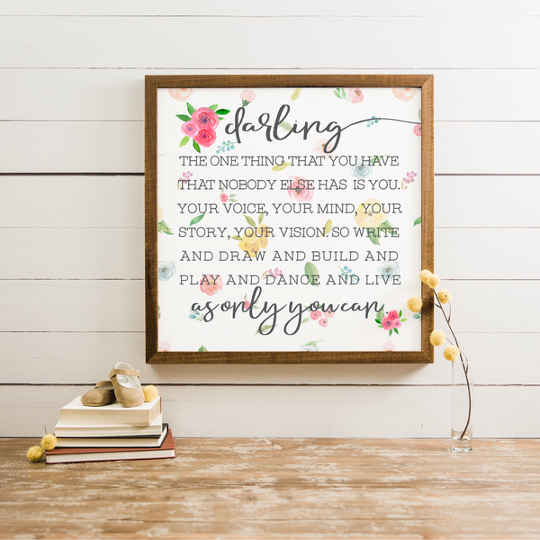 Wood Framed Signboard - Darling - SQ [CLOSEOUT]