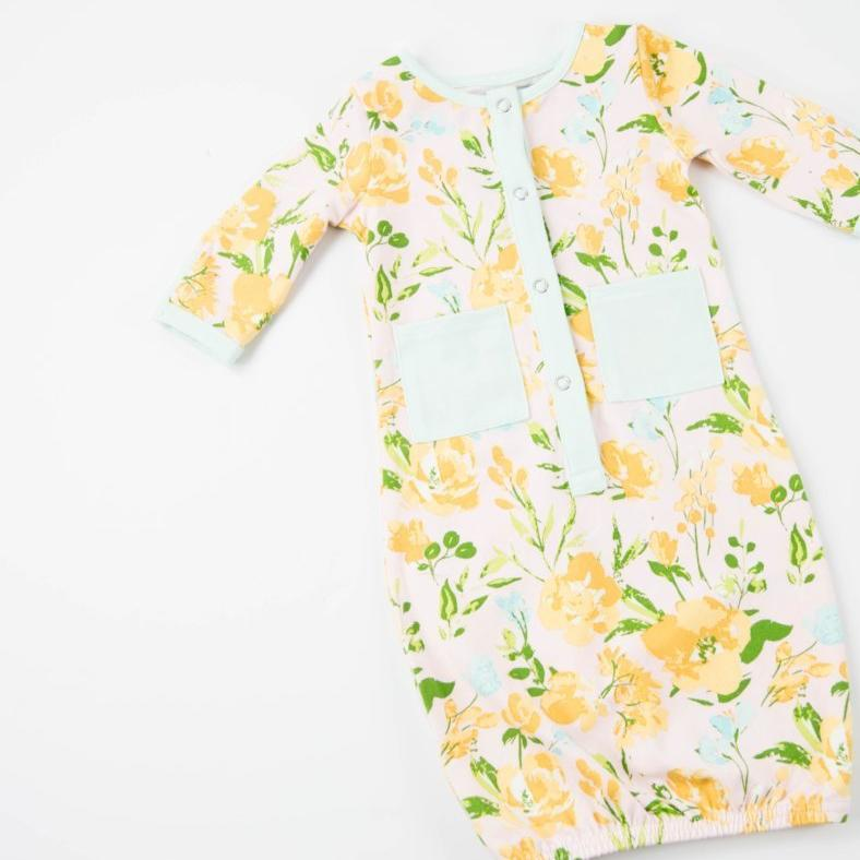 Everyday Essentials - Infant Gown - Aqua Floral