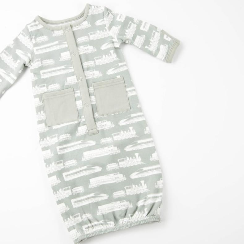 Everyday Essentials - Infant Gown - Grey Trains