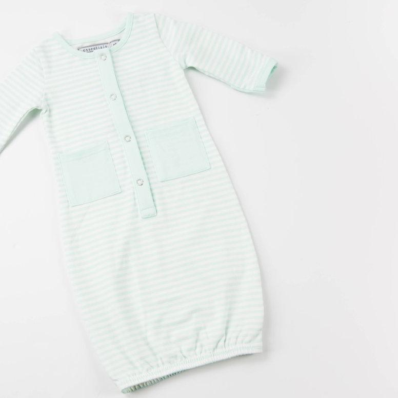 Everyday Essentials - Infant Gown - Tiny Mint Stripe FINAL SALE