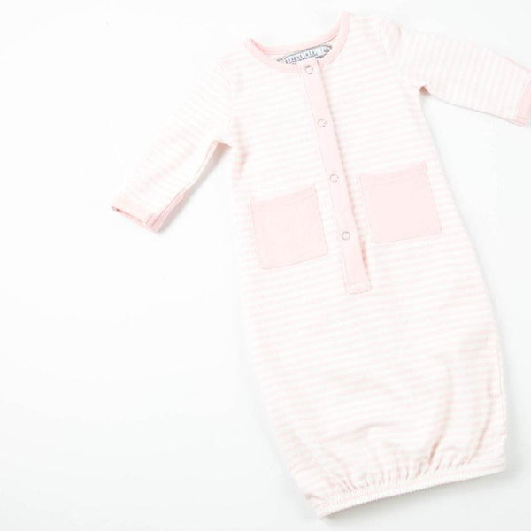 Everyday Essentials - Infant Gown - Tiny Pink Stripe FINAL SALE