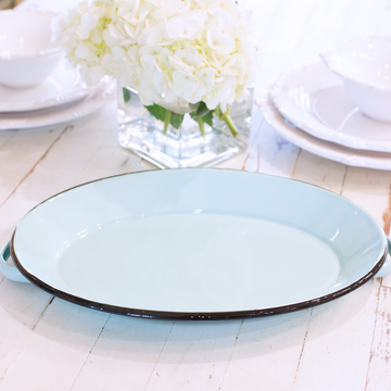 Blue Enamelware Oval Tray