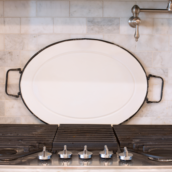 White Painted Oval Metal Tray