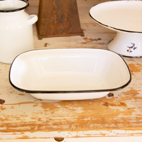 White Enamelware Side Dish