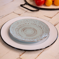 White Enamelware Dinner Plate