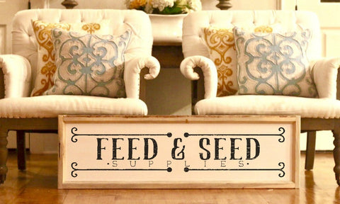 Wood Framed Signboard - Feed & Seed (Natural) - L - 45x14