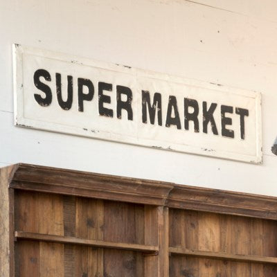 Embossed Metal Sign - Supermarket
