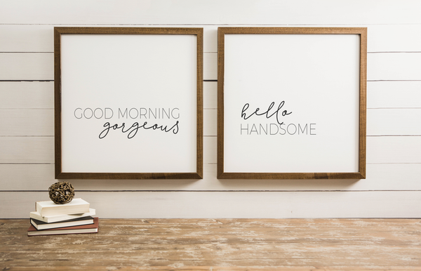Wood Framed Signboard - Good Morning Hello - SQ [DUO]