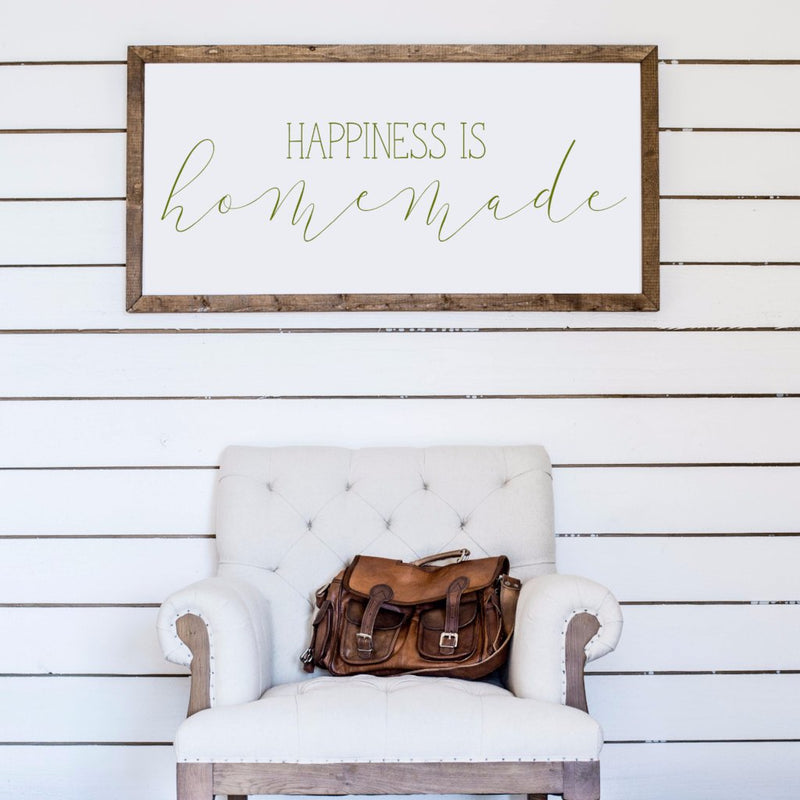 Wood Framed Signboard - Happiness is Homemade - XL