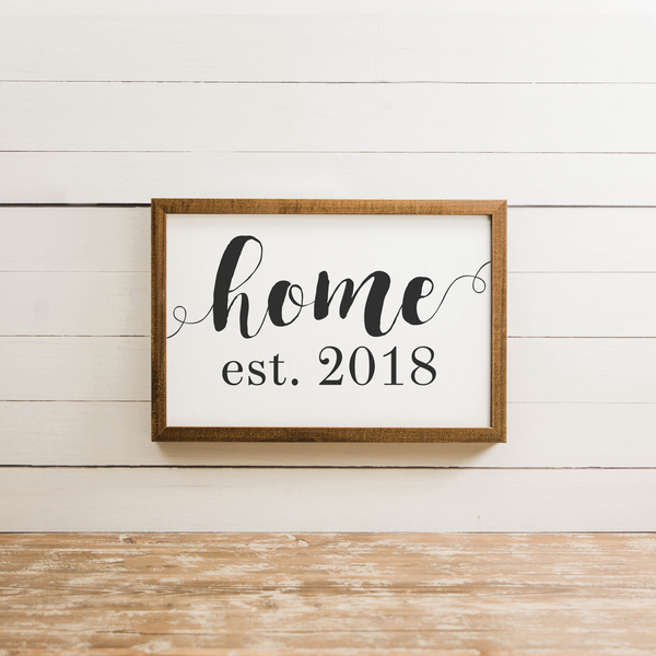 Wood Framed Signboard - Home Est. 2018  - M