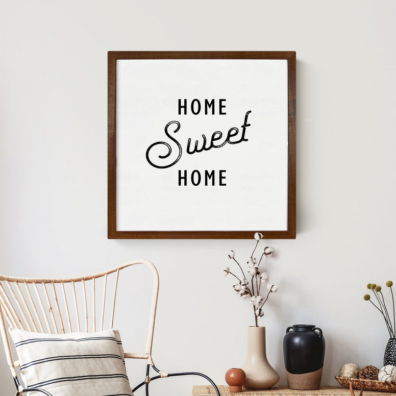 Wood Framed Signboard - Home Sweet Home - 26 x 26