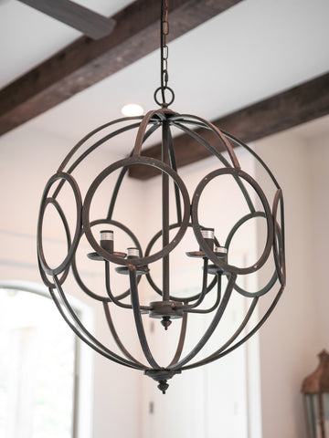 Caged Orbit Chandelier