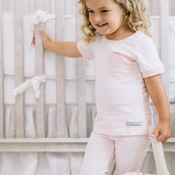 Everyday Essentials - 2-Piece Loungewear - Tiny Pink Stripe FINAL SALE