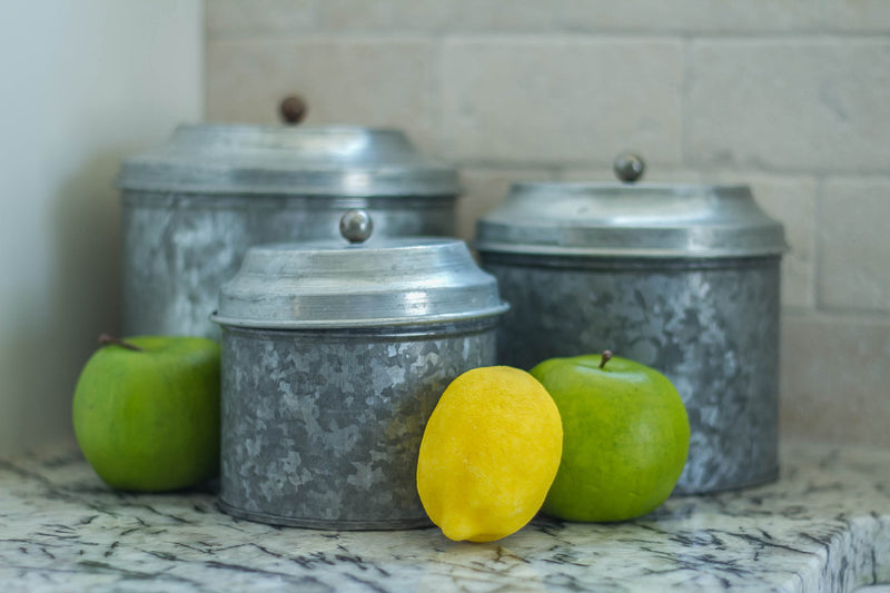 Smallwoods - ACCESSORIES,DECOR,GIFT - Short Galvanized Canister Set  - 3
