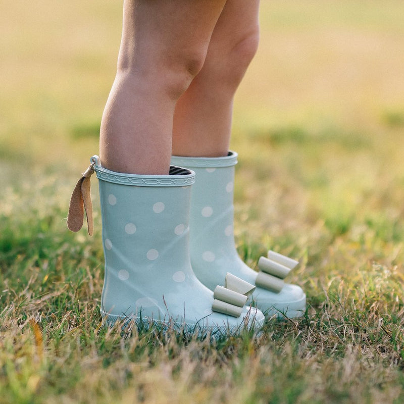 SweetHoney - Cheery Rain Boots - Mint Dot - FINAL SALE