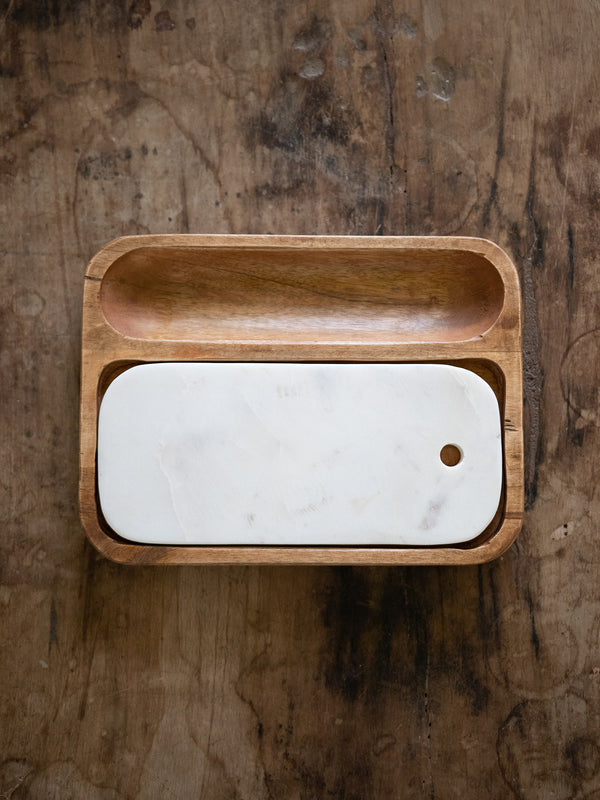 Kevia Wood & Marble Cheese Tray