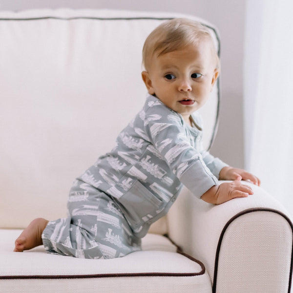 Everyday Essentials - Infant Gown - Grey Trains FINAL SALE